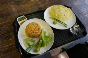 Stir fried Rice (left) and Pad Thai Omelette (right)