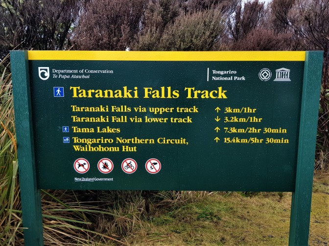Taranaki Falls Trailhead Sign